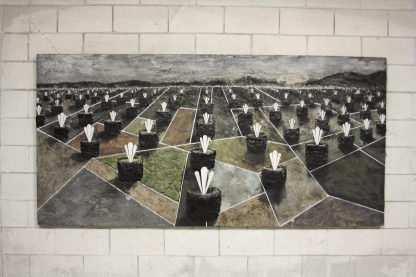 250x120cm. Wood canvas, cement, nails, iron metal, copper, brass, tar, acrylic and oil paint
