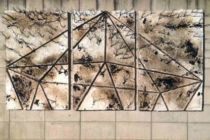 240x120cm. Wood canvas, brass, copper, carbon steel, stainless steel, tar, acrylic, tempera, resin